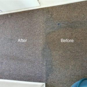 Before and after of a stained carpet